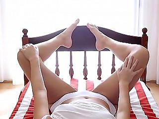 Eden taking her white panties off