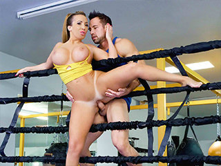 Busty Stunner Heads Boxing