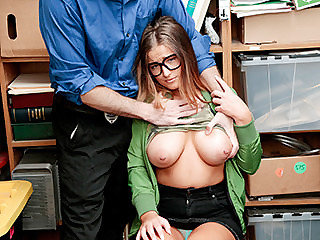 Gal in glasses with lovely  gets a sexual lesson
