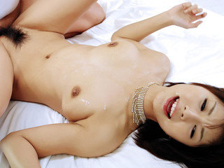 Azumi in ebony lingerie takes on two insane peckers and eats them both