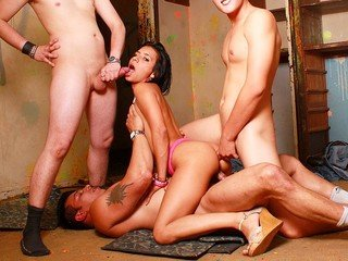 Outstanding brunette slut in warm Double penetration meeting with three weenies