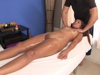 Marvelous woman enjoys proficient lubricant rubdown